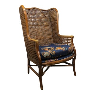Vintage Lewittes Furniture Boho Chic Bamboo and Cane Wingback Chair For Sale