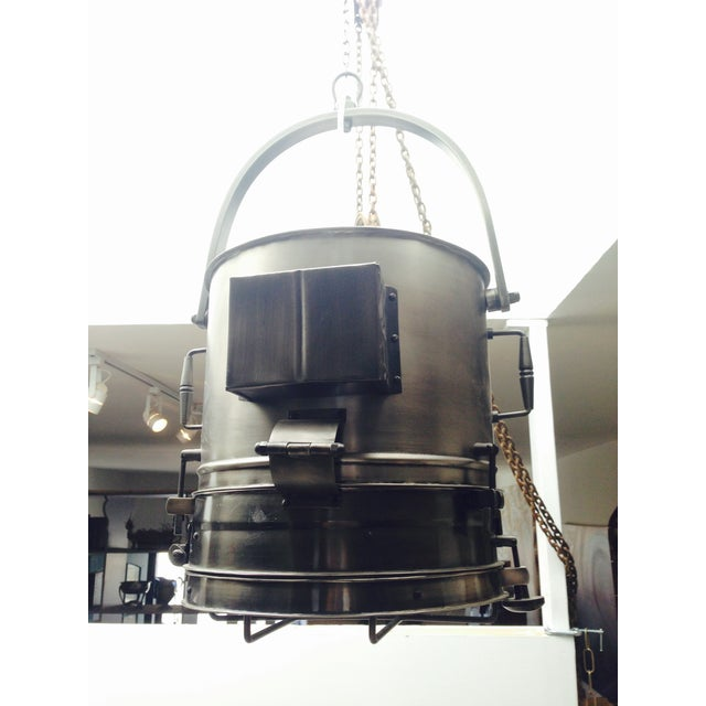 Large Industrial Hanging Pendant Light Chandelier For Sale - Image 4 of 11