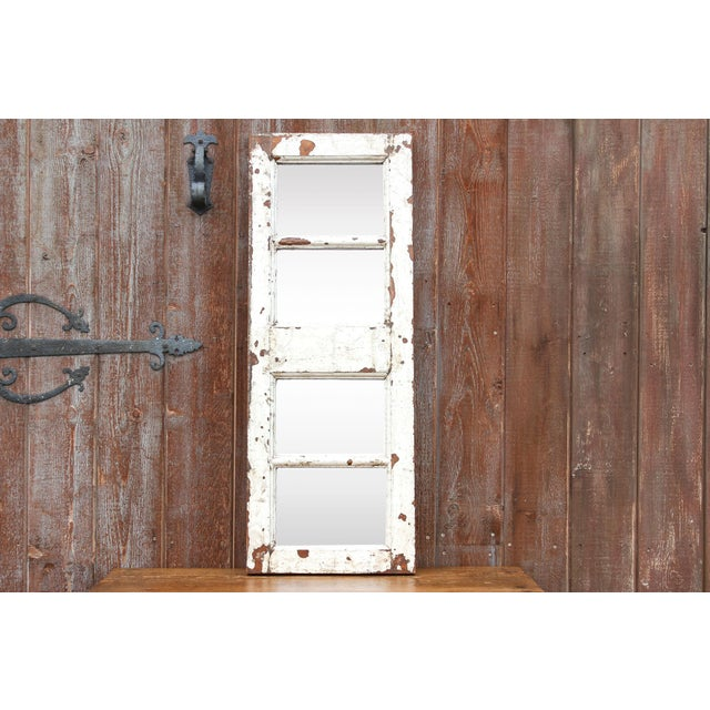 Glass Antique White Paneled Window Mirror For Sale - Image 7 of 7