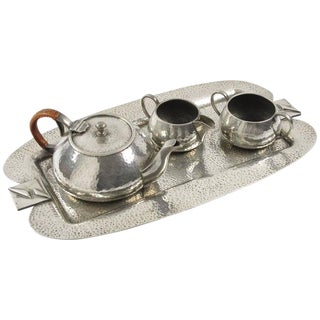 Fenton Bros Ltd Sheffield England Art Nouveau Pewter Tea Coffee Serving Set For Sale