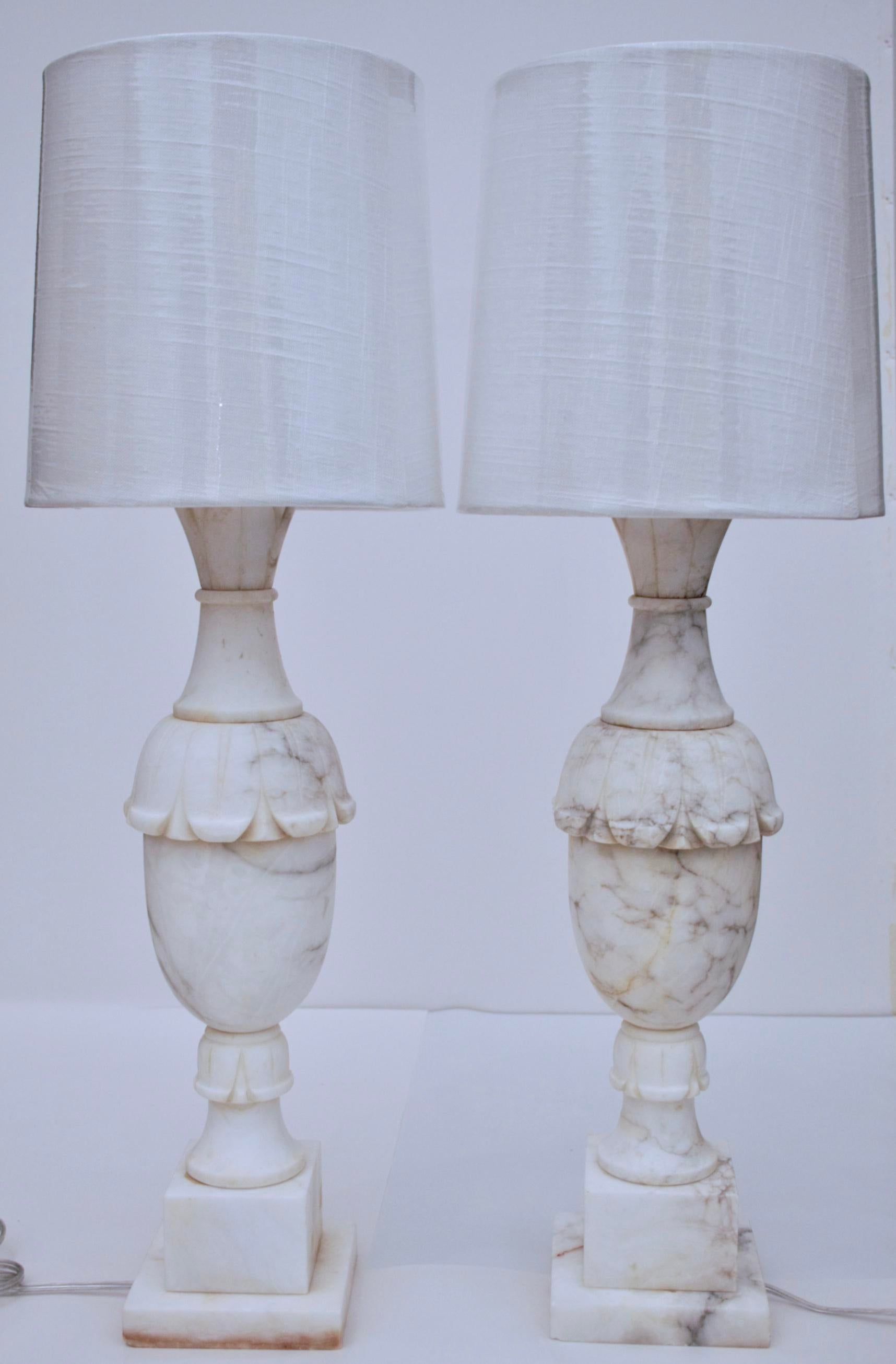 Antique White Marble Lamps   A Pair   Image 2 Of 11