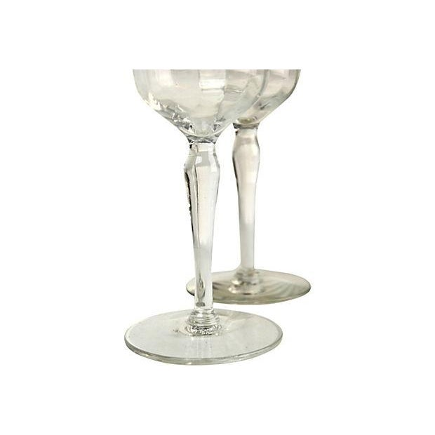 Mid-Century Etched Wine Goblets - A Pair For Sale - Image 4 of 6
