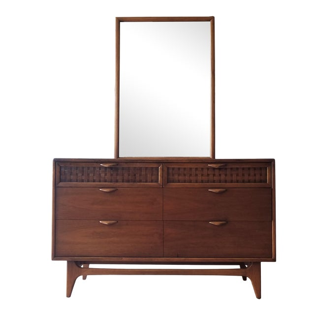 1960s Lane Perception Four Drawer Dresser With Mirror For Sale