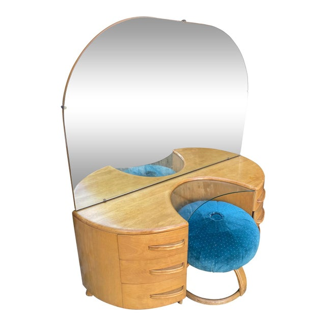 Heywood-Wakefield Heywood WakeField Curved Vanity & Matching Stool - 2 Pieces For Sale - Image 4 of 11