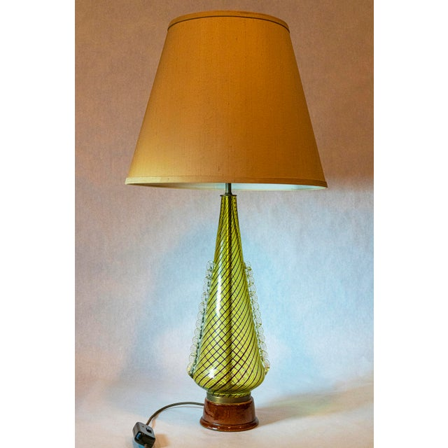 Exceptional pair of large scale Dino Martens Murano Glass Table Lamps with Ceramic Base and green-gray Silk Shades, ca...