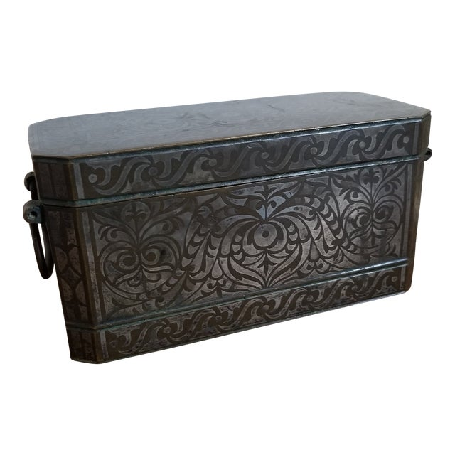 Antique Bronze and Silver Betel Box For Sale