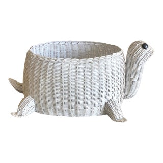 Vintage White Wicker Turtle Basket For Sale