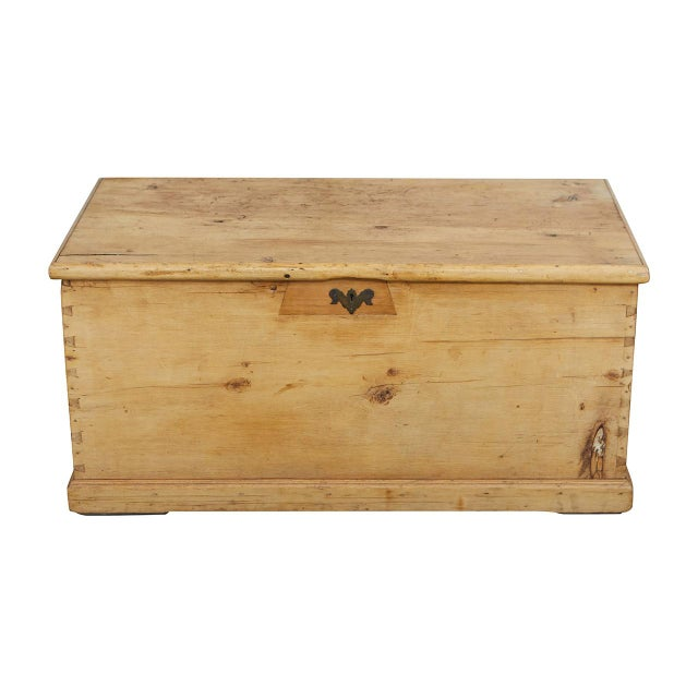 Large English Pine Trunk For Sale - Image 9 of 9