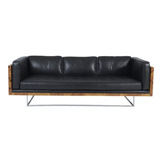 Burl Wood and Leather Case Sofa on Chrome Frame by Milo Baughman for Thayer Coggin For Sale