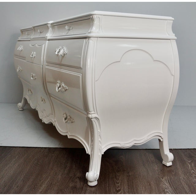 Mid 20th Century White Lacquered Bombay Dresser For Sale In West Palm - Image 6 of 9