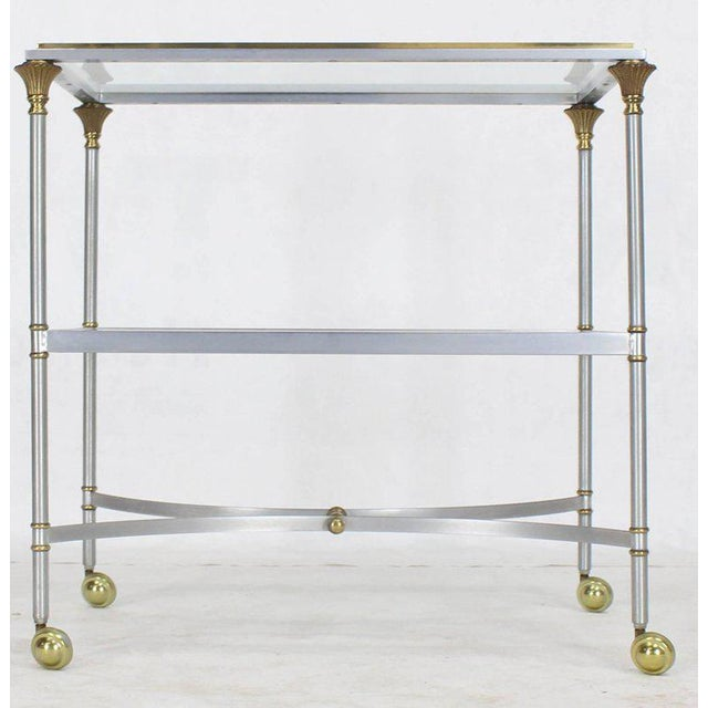 Mid-Century Modern Mid Century Modern Two-Tier Brass Chrome Glass Rectangular Serving Bar Cart For Sale - Image 3 of 9