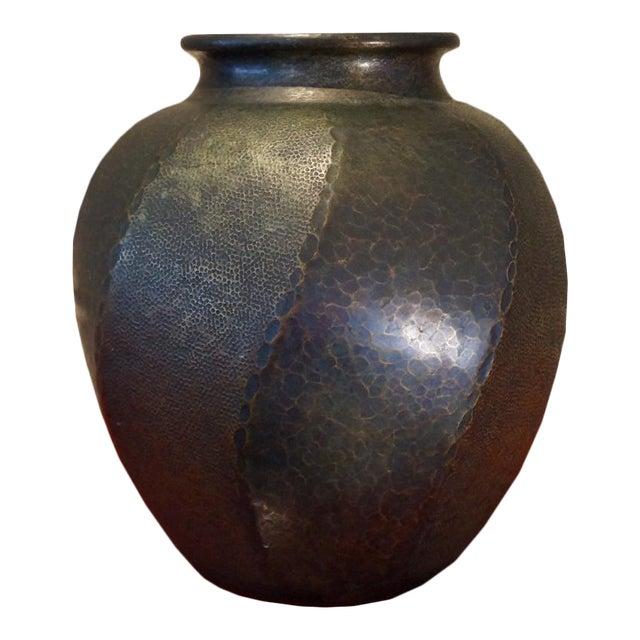 1930s Japanese Hand Hammered Copper Vase For Sale