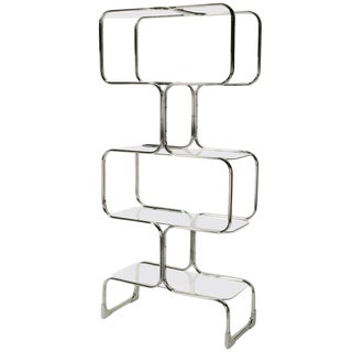Chromed Steel and Glass Four-Shelf Etagere by Tricom, Italia For Sale