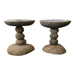 Rustic River Rock Side Tables - a Pair For Sale
