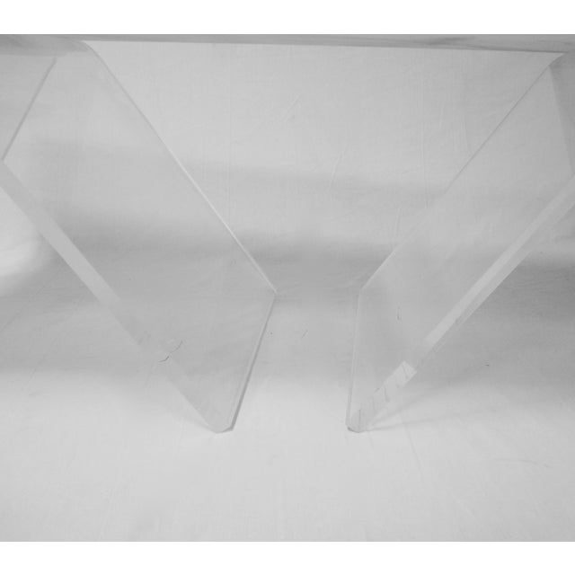 Lucite Base Coffee Table with Marble Top - Image 6 of 11