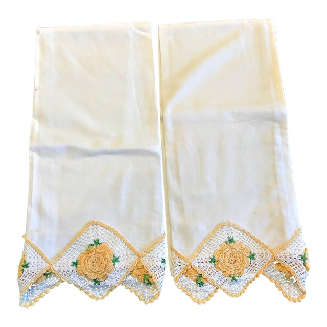 Vintage Crochet Rose Trim Pillowcases - A Pair - Image 1 of 4