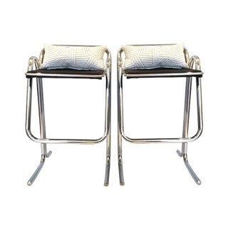 1960's Vintage Jerry Johnson Chrome Bar Stools - a Pair For Sale