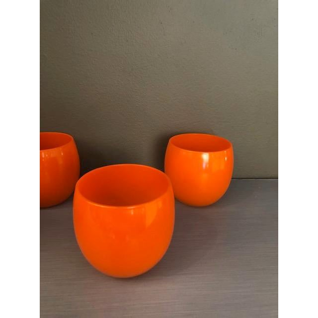 1970s Mid-Century Hand Blown Orange Cocktail Glasses - Set of 4 For Sale - Image 5 of 7