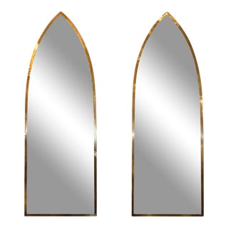 1950s Solid Brass Italian Arched Mirrors Gabriella Crespi Style - A Pair For Sale