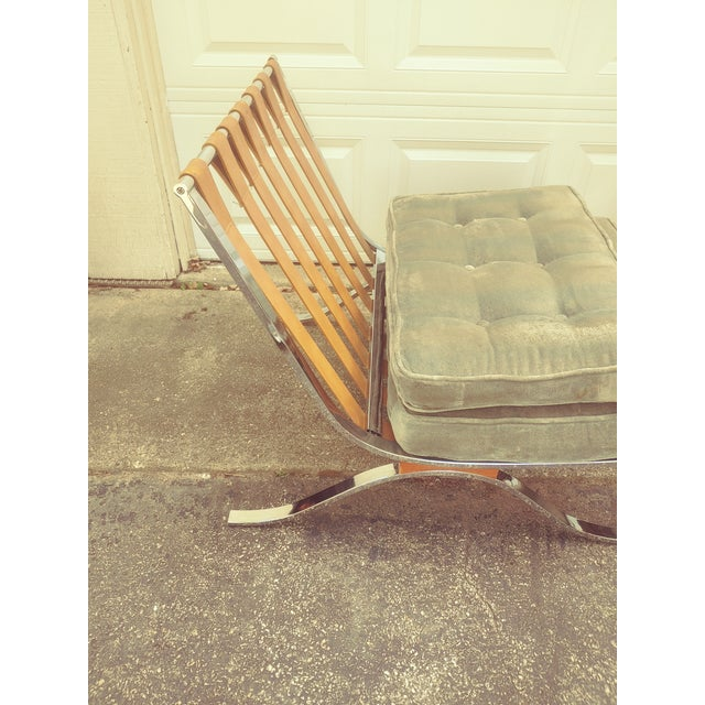 Mid Century Italian Barcelona Cloth Chairs For Sale - Image 9 of 10
