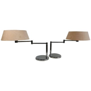 Walter Von Nessen Swing Arm Table Lamps - A Pair For Sale