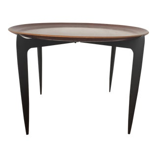 Danish Modern Round Teak Tray Table