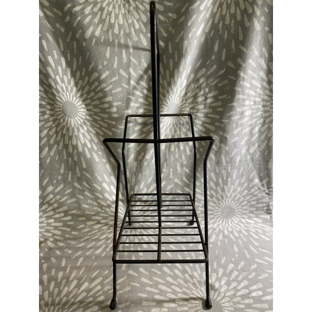 1950s Mid-Century Atomic Black Metal Wire Magazine Rack Record Holder For Sale - Image 4 of 9