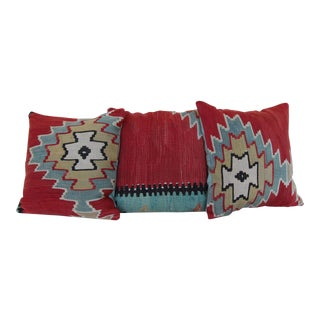 Antique Kilim Rug Pillows - Set of 3 For Sale