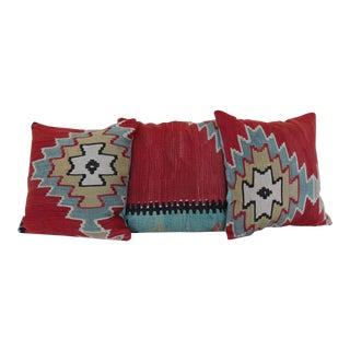 Vintage Kilim Rug Pillows - Set of 3 For Sale