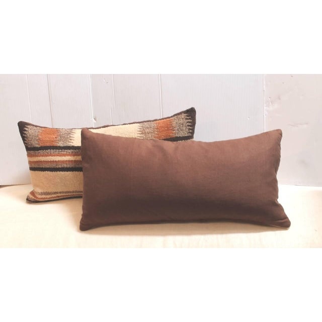 Pair of Navajo Indian Weaving Saddle Blanket Pillows For Sale - Image 4 of 4