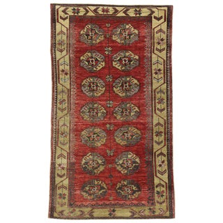 Rustic MCM Style Vintage Turkish Oushak Rug - 4′ × 7′ For Sale
