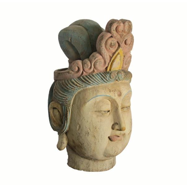 1930s 1930s Chinese Guan Yin Wood Head With Muti Color Headdress For Sale - Image 5 of 5