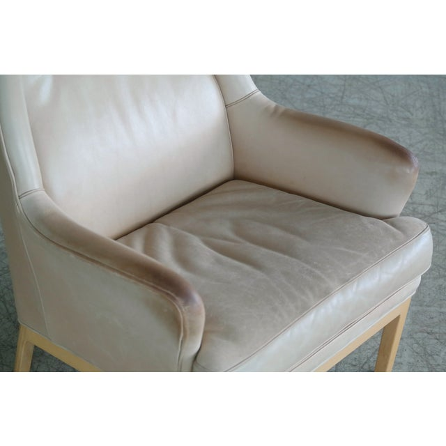 1970s Midcentury Scandinavian Arne Norell High Back Lounge Chair in Worn Tan Leather For Sale - Image 5 of 10