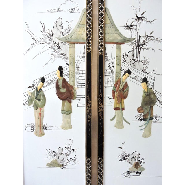 Asian The Jade Pavillion White Lacquer Chinese Wall Panels - a Pair For Sale - Image 3 of 4