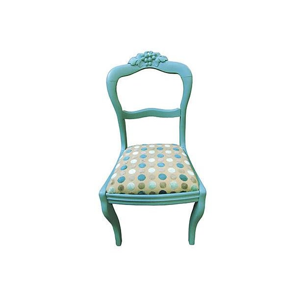 Antique Teal Carved Paris Dining Chairs - a Pair - Image 3 of 4