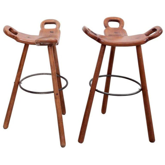 1970s Set of Two Marbella Brutalist Bar Stools For Sale - Image 5 of 5