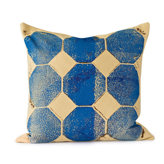 Blue Octagon Throw Pillow For Sale
