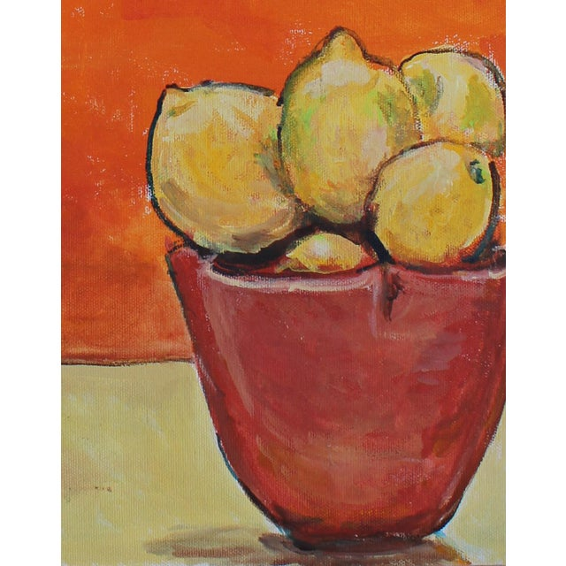 "2010s 2016 Sarah Myers ""Sculpture and Lemons"" Original Acrylic on Canvas Painting For Sale - Image 5 of 6"
