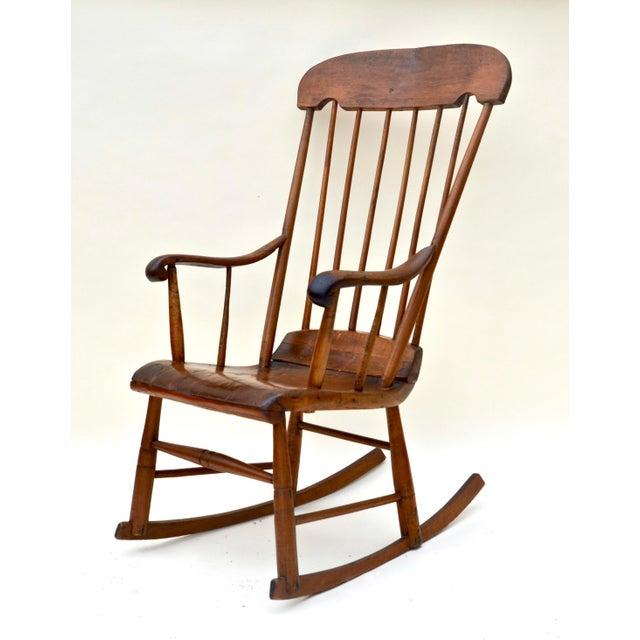 Antique Primitive Boston Rocking Chair C.1840s For Sale - Image 4 of 11
