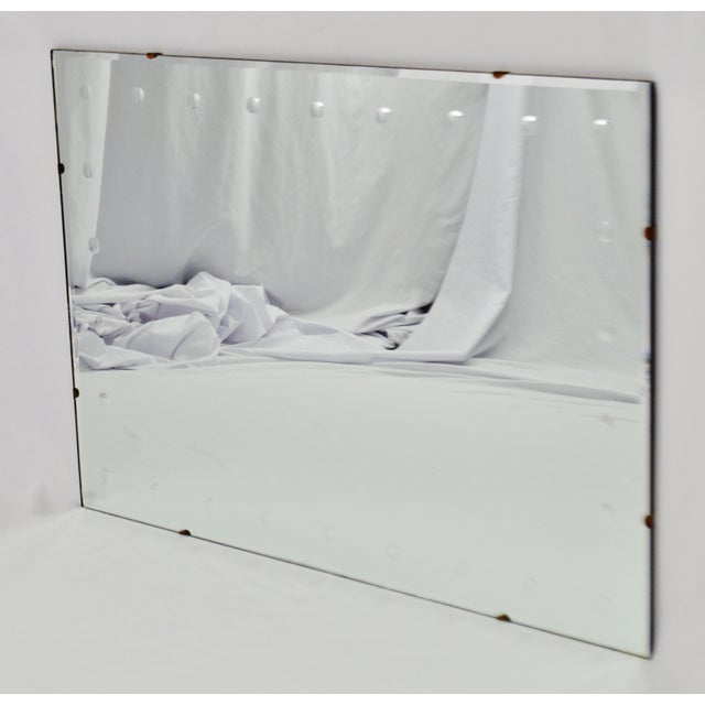 Mid Century Modern Frameless Beveled Mirror Condition consistent with age and history. Some minor oxidation/ghosting to...