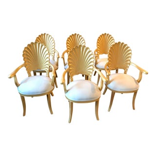 Mid Century Hollywood Regency Venetian Grotto Shell Gold Carved Arm Chairs- Set 6 For Sale
