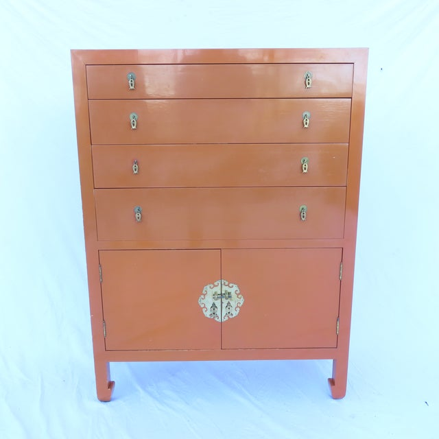 Vtg 1970s Chinese Lacquered Burnt Orange Tall Chest Dresser Cabinet Hong Kong For Sale - Image 13 of 13