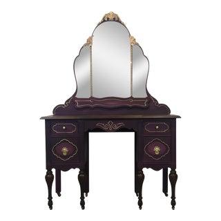 1940s Hollywood Regency Ornate Vanity For Sale