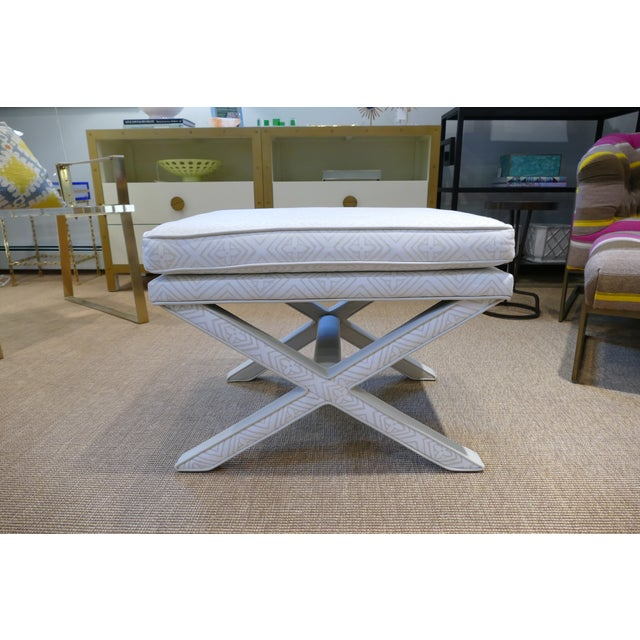 Modern Quadrille & Leather X-Benches- A Pair For Sale - Image 4 of 11