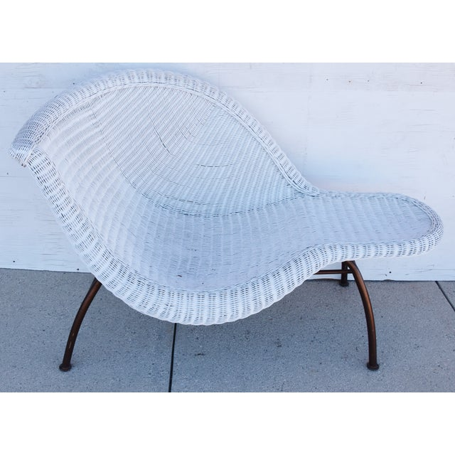 Vintage Modernistic Asymmetric Woven Wicker Chaise Lounge For Sale - Image 13 of 13