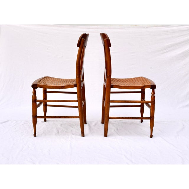 Mid 19th Century Antique Caned Federal Dining Chairs, Set of Eight For Sale - Image 5 of 10