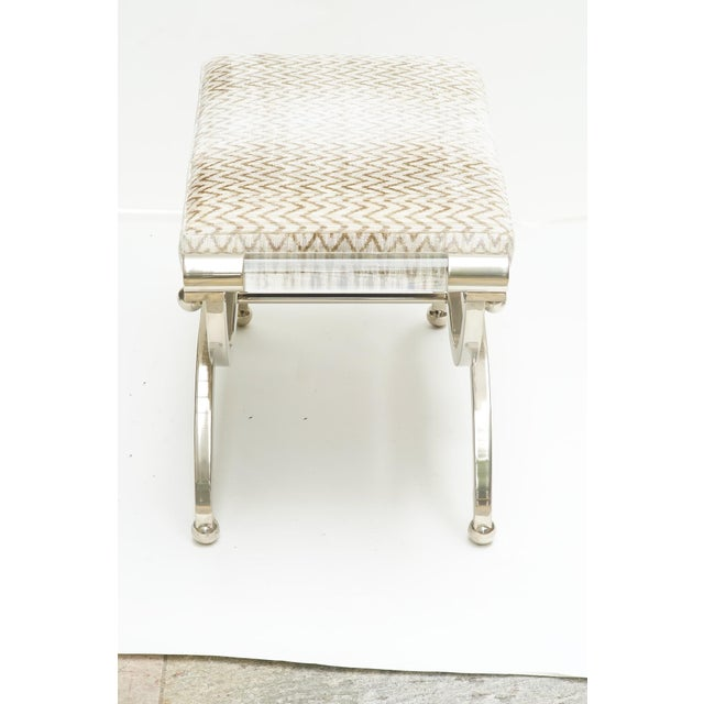 20st c. Charles Hollis Jones Benches, nickeled metal and lucite, signed. Newly upholstered in silk velvet