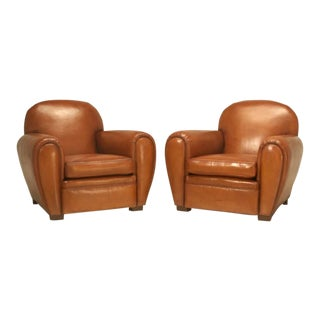 French Art Deco Restored Leather Club Chairs - a Pair For Sale