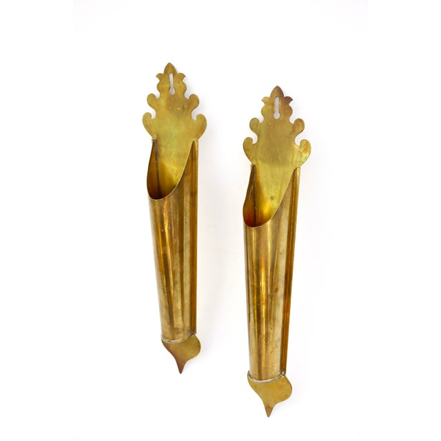 Vintage Brass Wall Planters | Pair of Wall Mount Vases | Moroccan Stemmed Flower Sconces|| Boho Chic/Hollywood Regency Wall Decor For Sale - Image 13 of 13