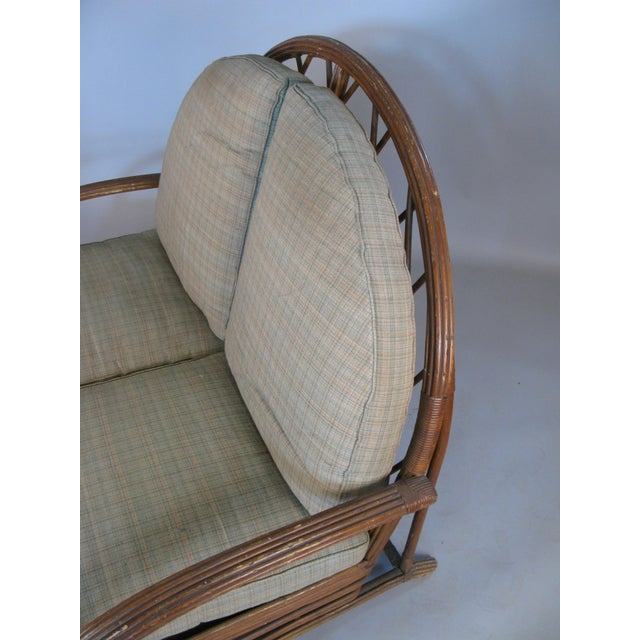 Wood Antique 1940s Arch Top Rattan Settee by Heywood Wakefield For Sale - Image 7 of 8